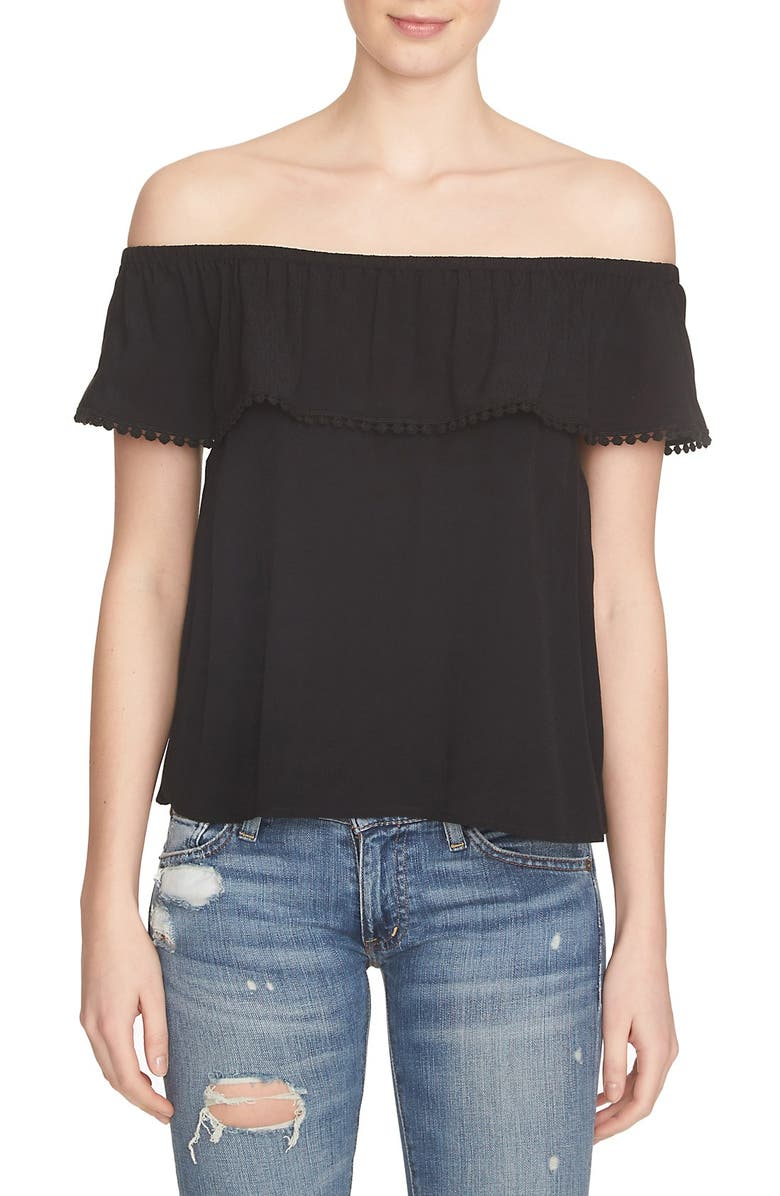 1.STATE Ruffle Off the Shoulder Top, Main, color, RICH BLACK