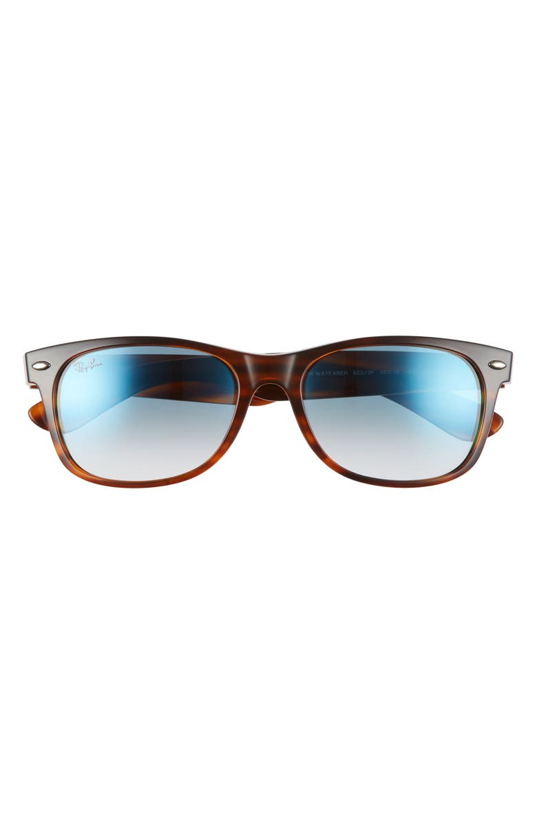 RAY-BAN Standard New Wayfarer Blue Light Blocking 55mm Sunglasses, Main, color, STRIPED BROWN/ BLUE GRADIENT
