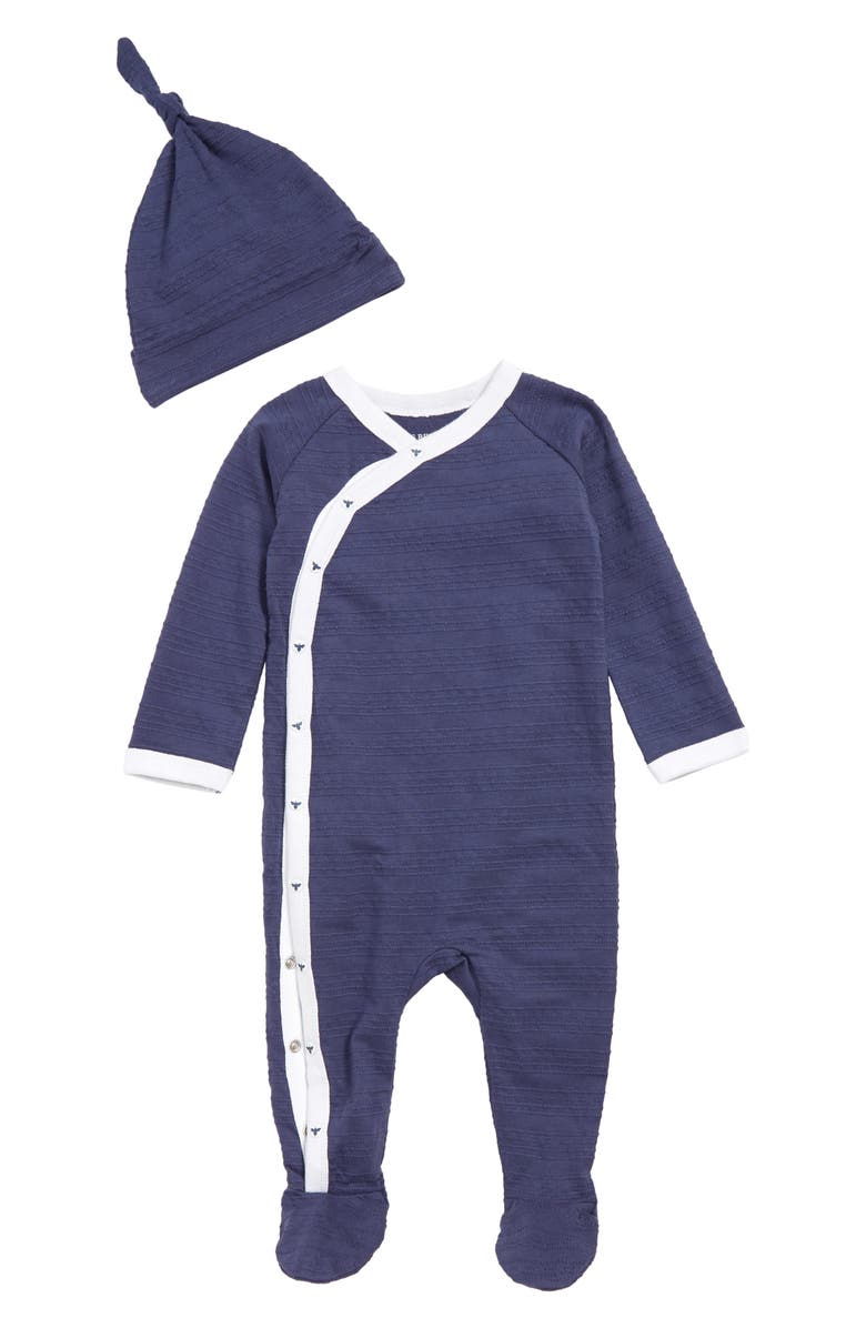 BURT'S BEES BABY Jacquard Stripe Organic Cotton Footie & Hat Set, Main, color, 412