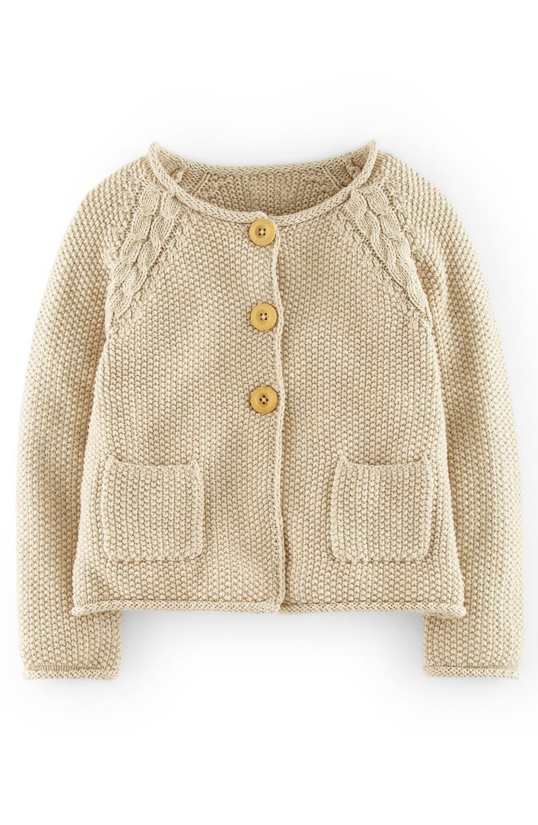MINI BODEN Cable Knit Detail Button Cardigan, Main, color, OATMEAL MARL