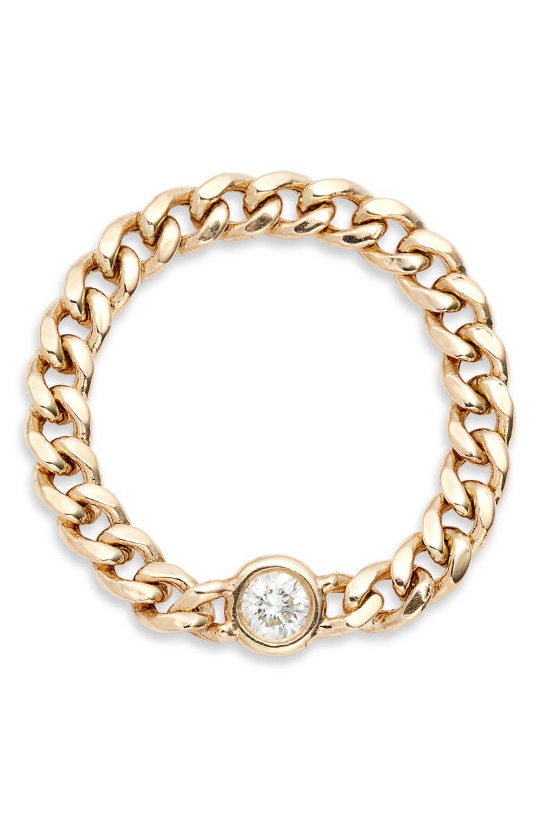 ZOË CHICCO Diamond Curb Chain Ring, Main, color, 710