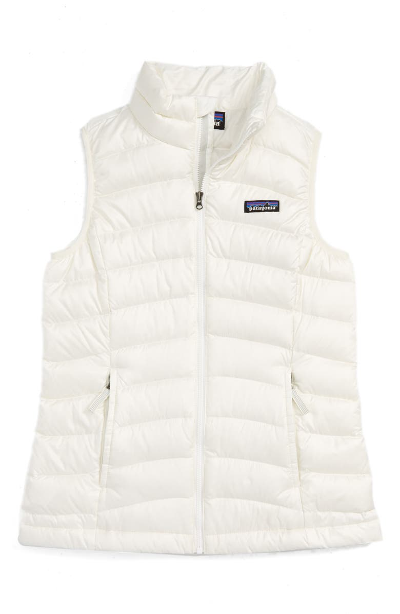 PATAGONIA Water Repellent Down Vest, Main, color, BIRCH WHITE