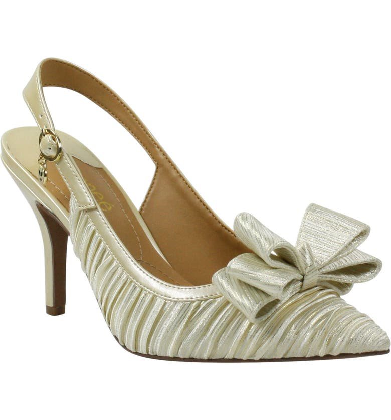 J. RENEÉ Charise Bow Pointed Toe Slingback Pump, Main, color, BEIGE/ GOLD FABRIC