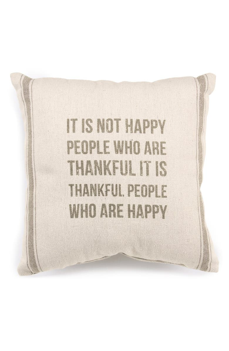 PRIMITIVES BY KATHY 'Thankful People' Pillow, Main, color, CREAM