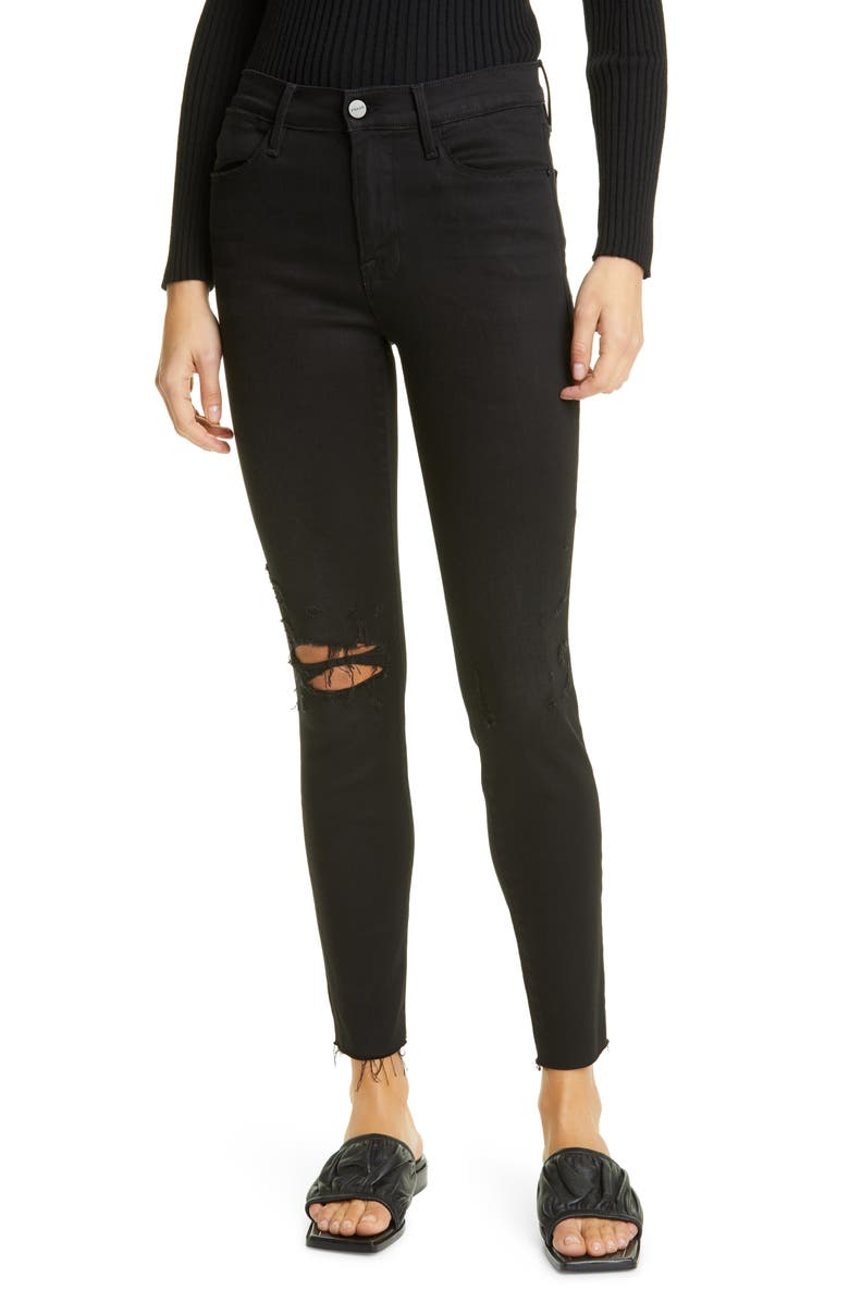 FRAME Le High Skinny Ripped Raw Hem Ankle Jeans, Main, color, BLACKFISH RIPS