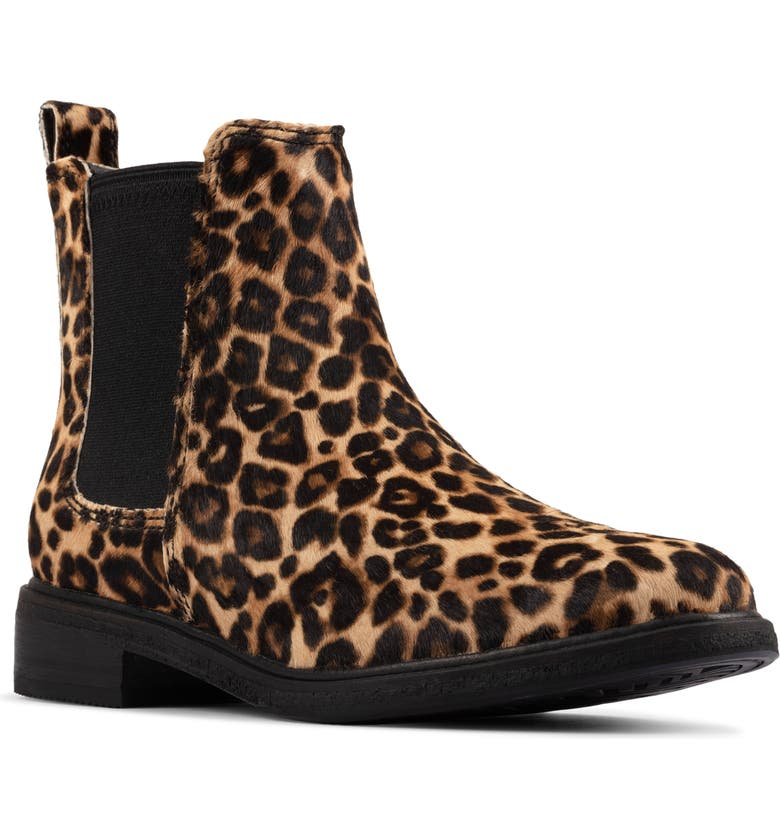 CLARKS<SUP>®</SUP> Clarkdale Arlo Genuine Calf Hair Boot, Main, color, LEOPARD PRINT CALF HAIR