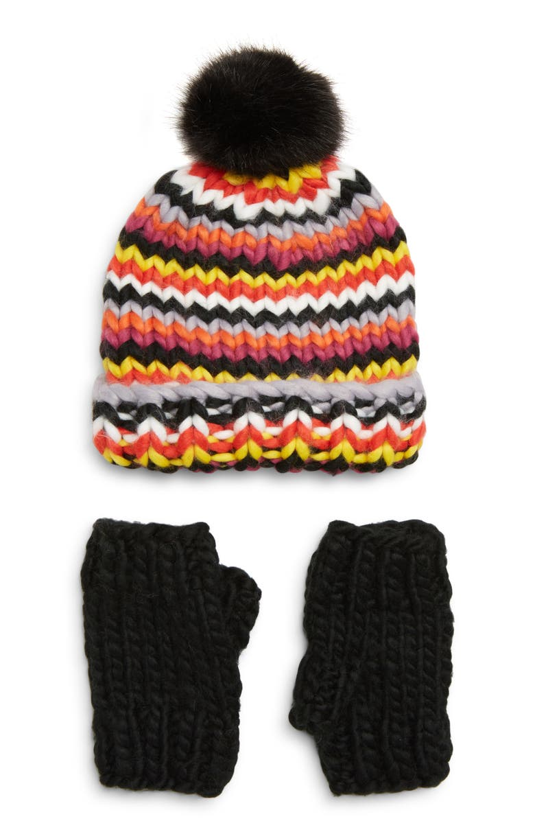 TROUVÉ Chunky Stitch Beanie with Faux Fur Pom & Fingerless Gloves Gift Set, Main, color, 001