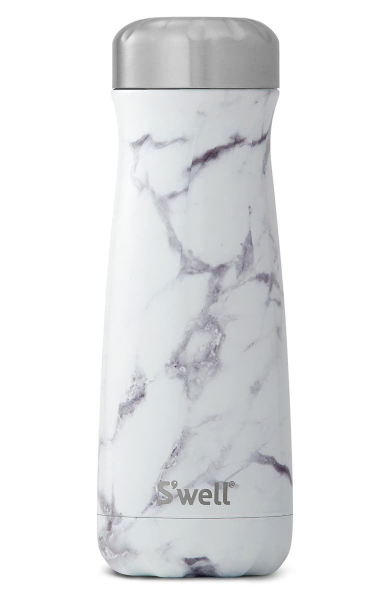 S'WELL Traveler White Marble 20-Ounce Insulated Stainless Steel Water Bottle, Main, color, WHITE MARBLE