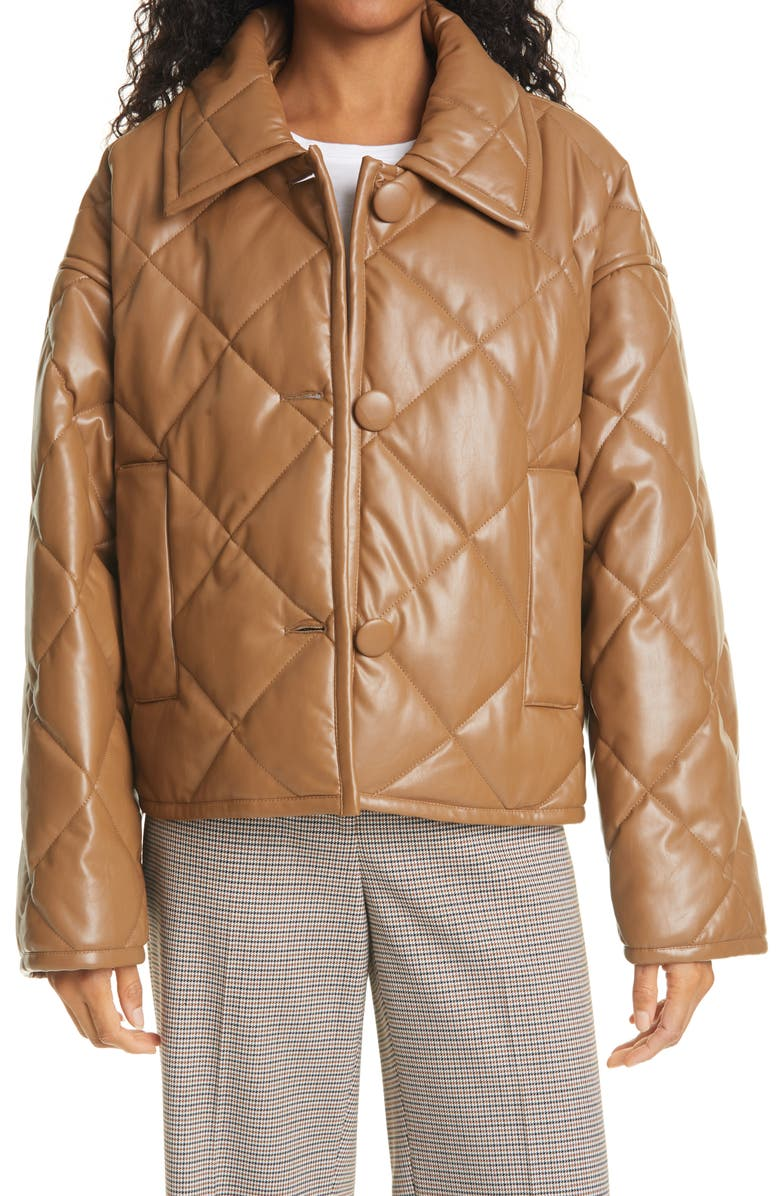 STAND STUDIO Jacinda Quilted Faux Leather Crop Jacket, Main, color, RUST/ COPPER