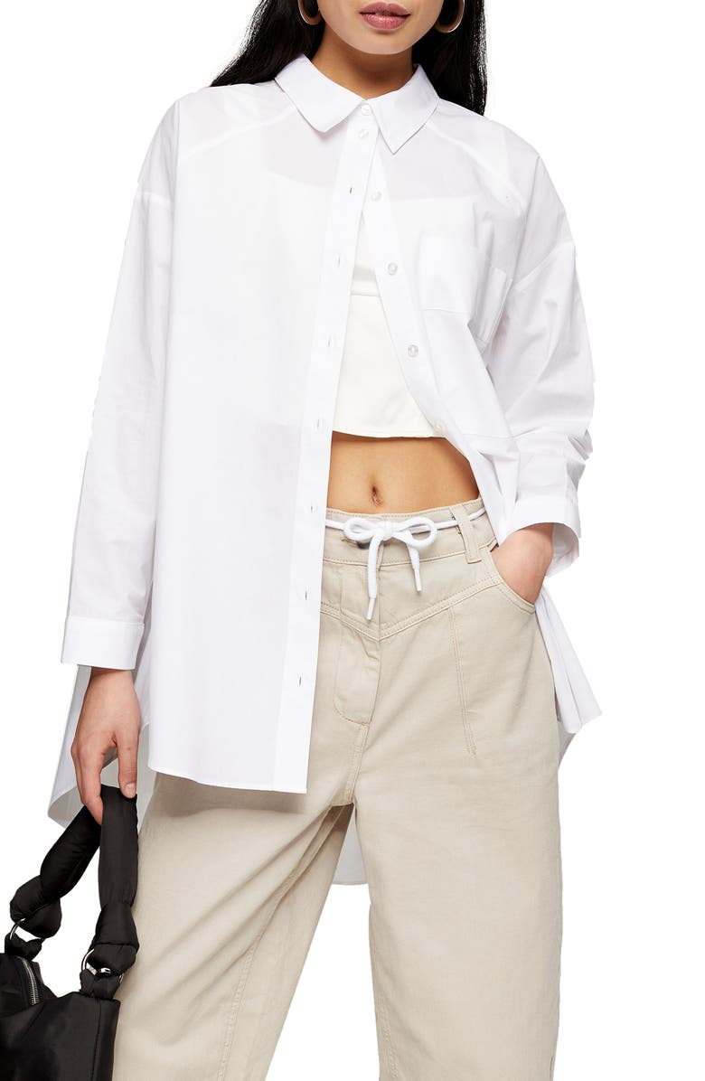 TOPSHOP Plain Poplin Button-Up Shirt, Main, color, WHITE
