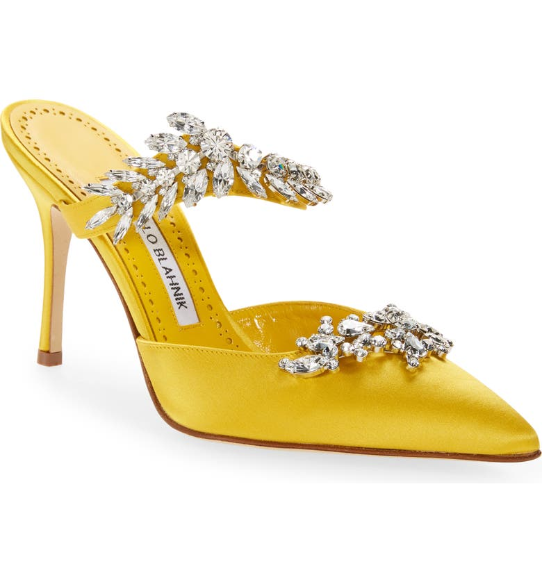 MANOLO BLAHNIK Lurum Jewel Leaf Mule, Main, color, YELLOW