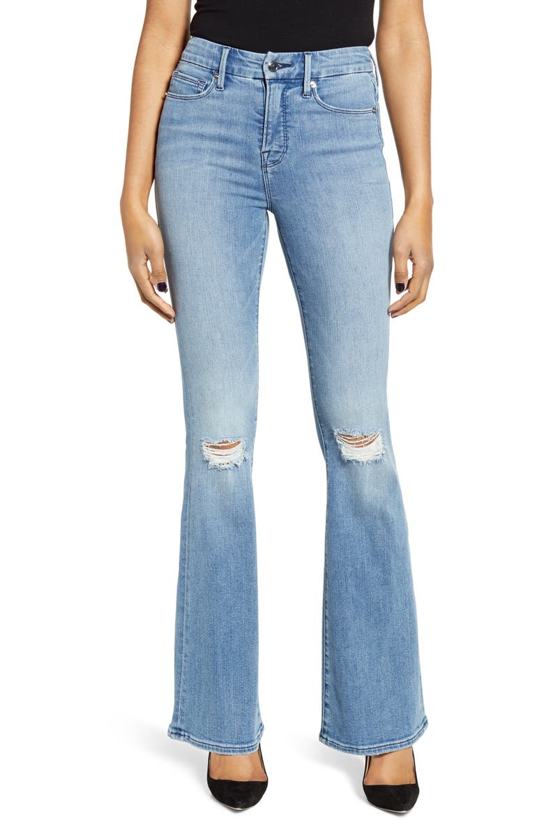 GOOD AMERICAN Good Flare Ripped Jeans, Main, color, 401