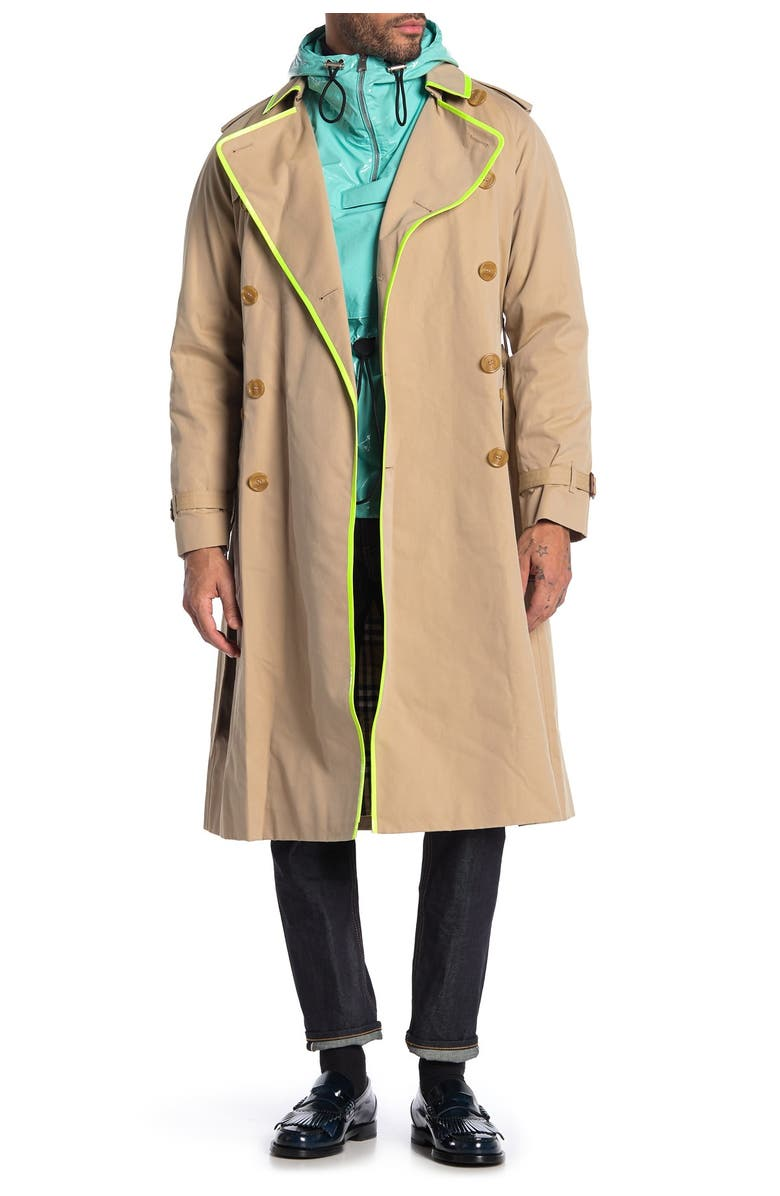 BURBERRY Cranleigh Neon Trim Double Breasted Trench Coat, Main, color, HONEY
