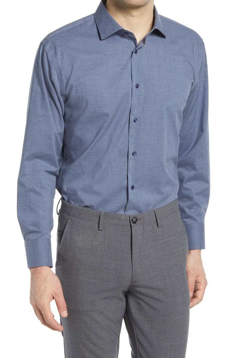 NORDSTROM Trim Fit Non-Iron Chambray Dress Shirt, Main, color, BLUE CHIP