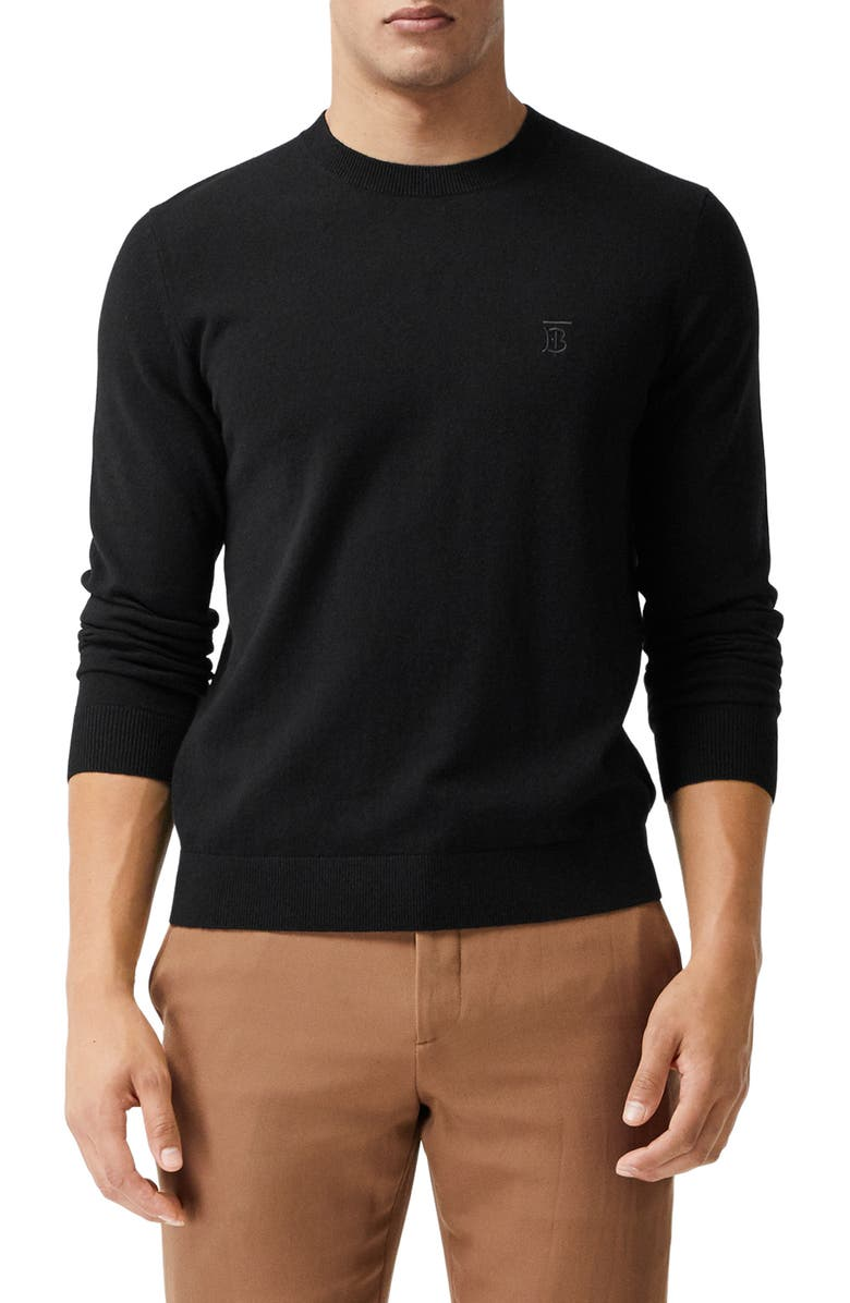 BURBERRY Bancroft TB Monogram Embroidered Cashmere Sweater, Main, color, BLACK