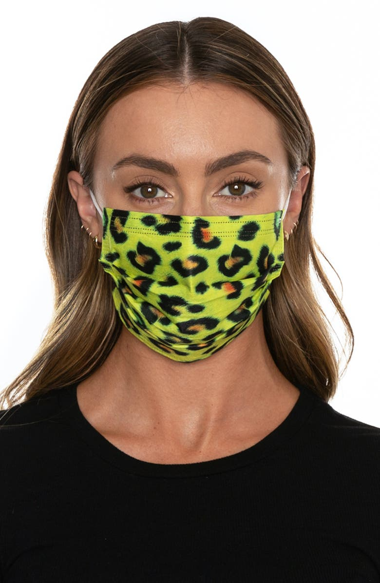 MEDIPOP 5-Pack Disposable Adult Leopard Print Pleated Face Masks, Main, color, YELLOW LEOPARD