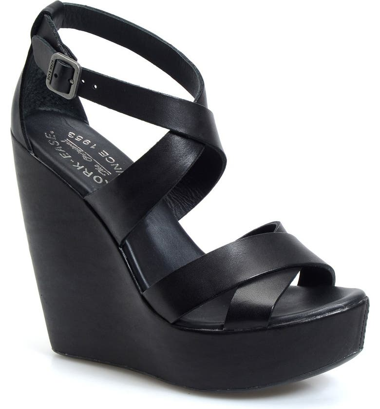 KORK-EASE<SUP>®</SUP> 'Grailey' Ankle Strap Wedge Sandal, Main, color, 001