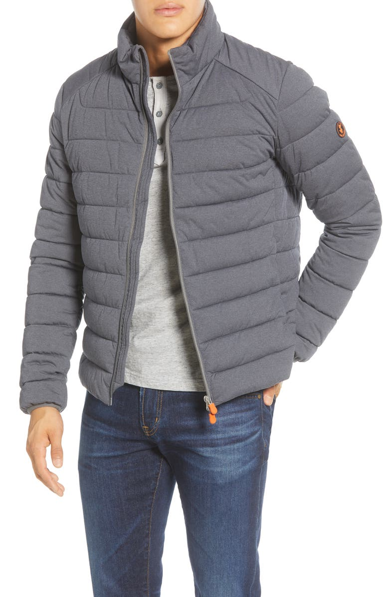 SAVE THE DUCK Stretch Waterproof Puffer Jacket, Main, color, OPAL GREY