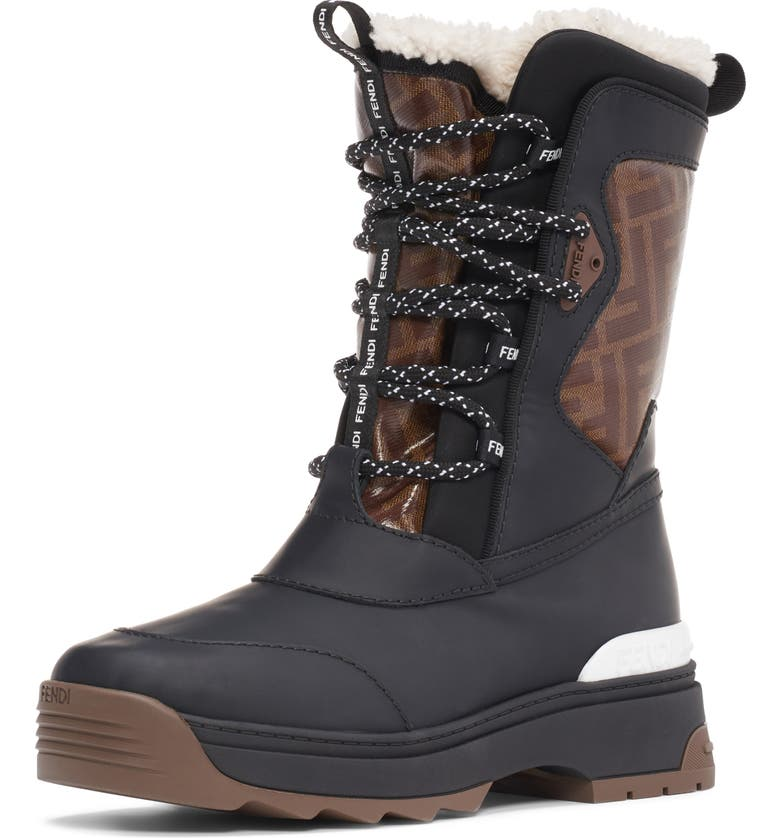 FENDI Genuine Shearling Lined Weather Resistant Ski Boot, Main, color, 004