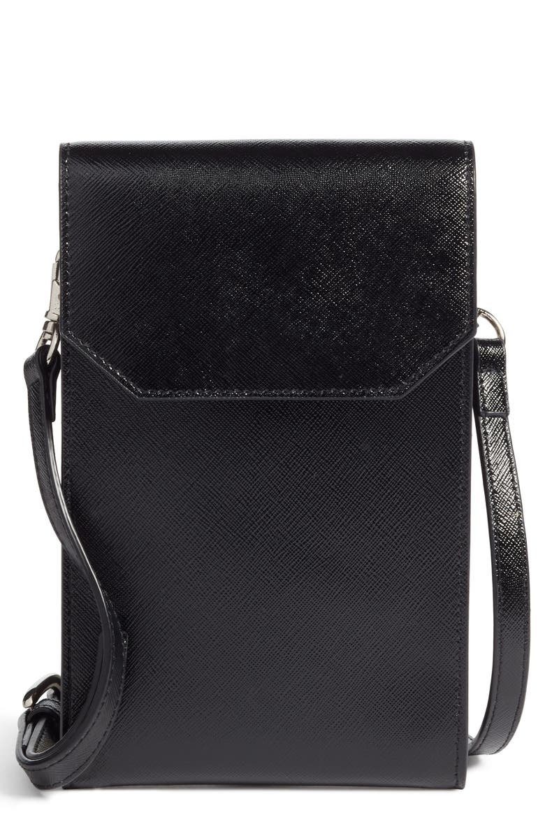 NORDSTROM Leather Phone Crossbody Bag, Main, color, 001