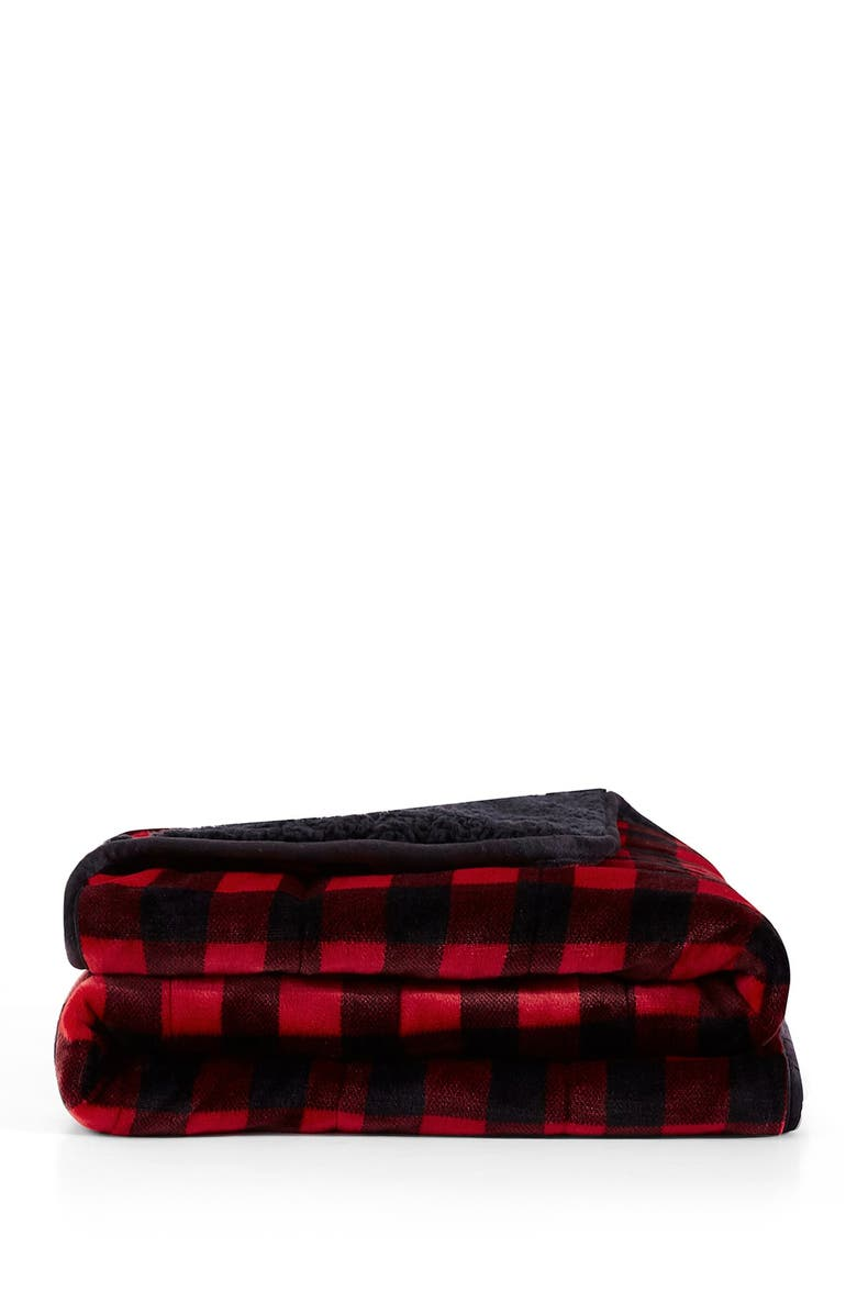 REJUVE Buffalo Red Shiny Velvet Reversible Faux Shearling Weighted Throw Blanket, Main, color, BUFFALO RED
