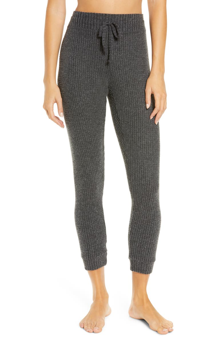 BEYOND YOGA Living Easy Thermal Knit Sweatpants, Main, color, CHARCOAL