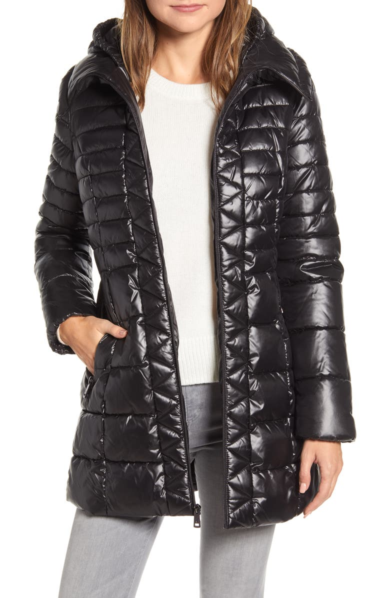 KENNETH COLE NEW YORK Hooded Packable Puffer Coat, Main, color, Black