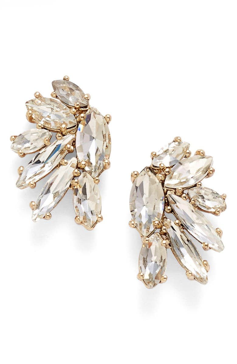 MARCHESA Crystal Cluster Stud Earrings, Main, color, GOLD