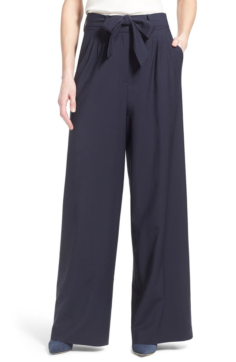 OLIVIA PALERMO + CHELSEA28 Pleat Front Trousers, Main, color, NAVY EVENING