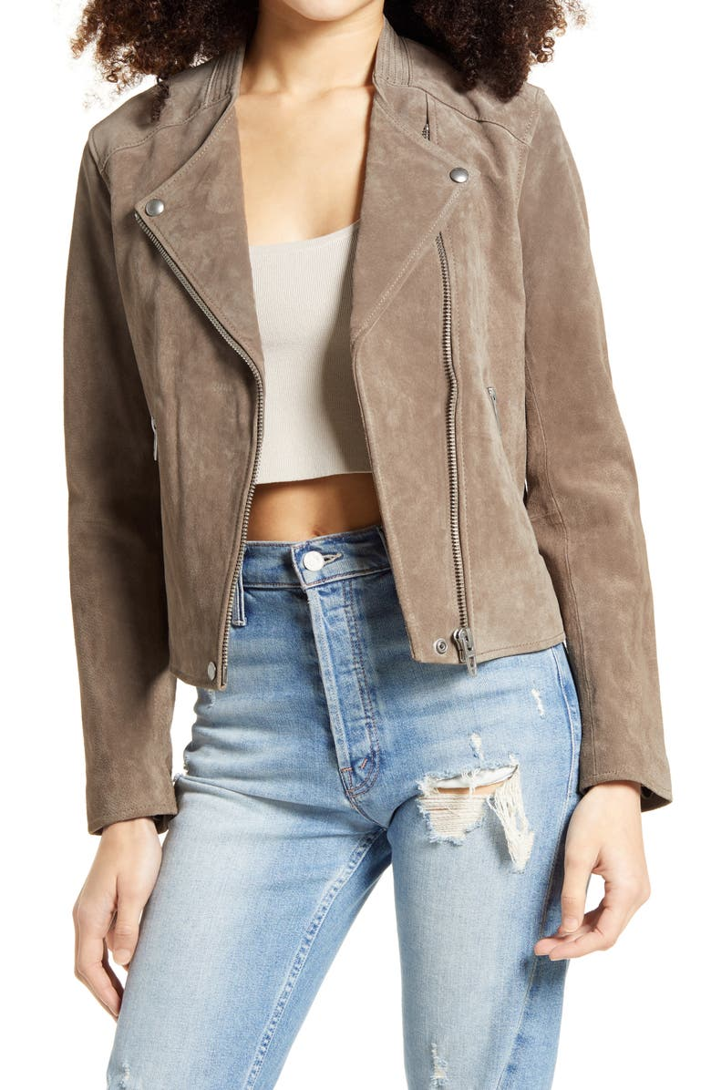 BLANKNYC No Limit Suede Moto Jacket, Main, color, SAND STONER