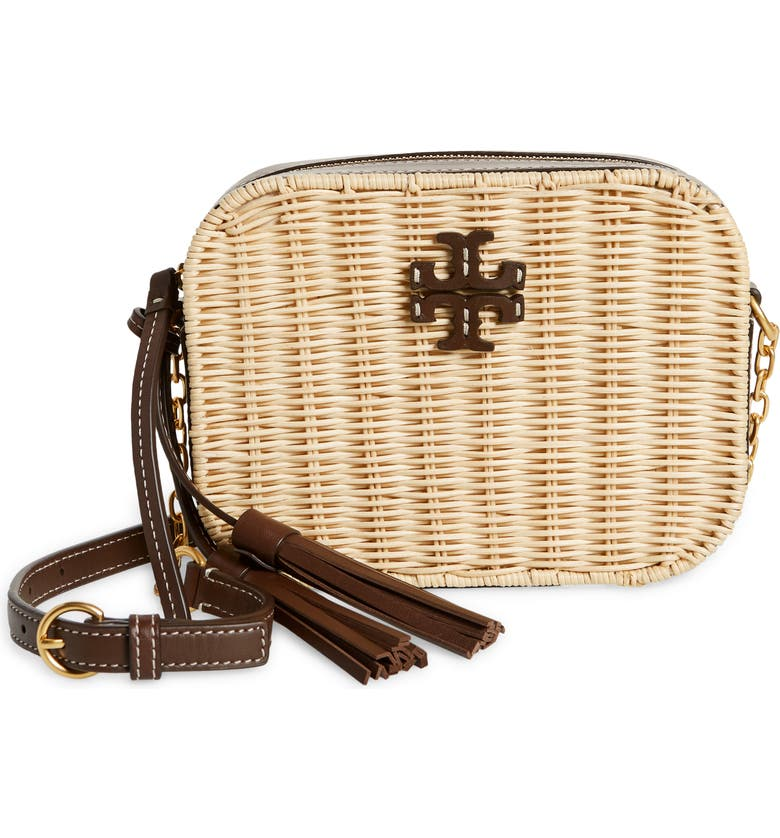 TORY BURCH McGraw Wicker & Leather Camera Crossbody Bag, Main, color, COLD BREW