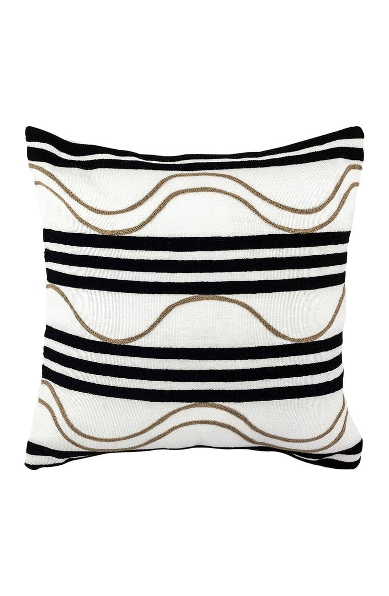 """DIVINE HOME Embroidered Waves Outdoor Pillow - 17"""" x 17"""" - Black/Taupe, Main, color, BLACK / TAUPE"""