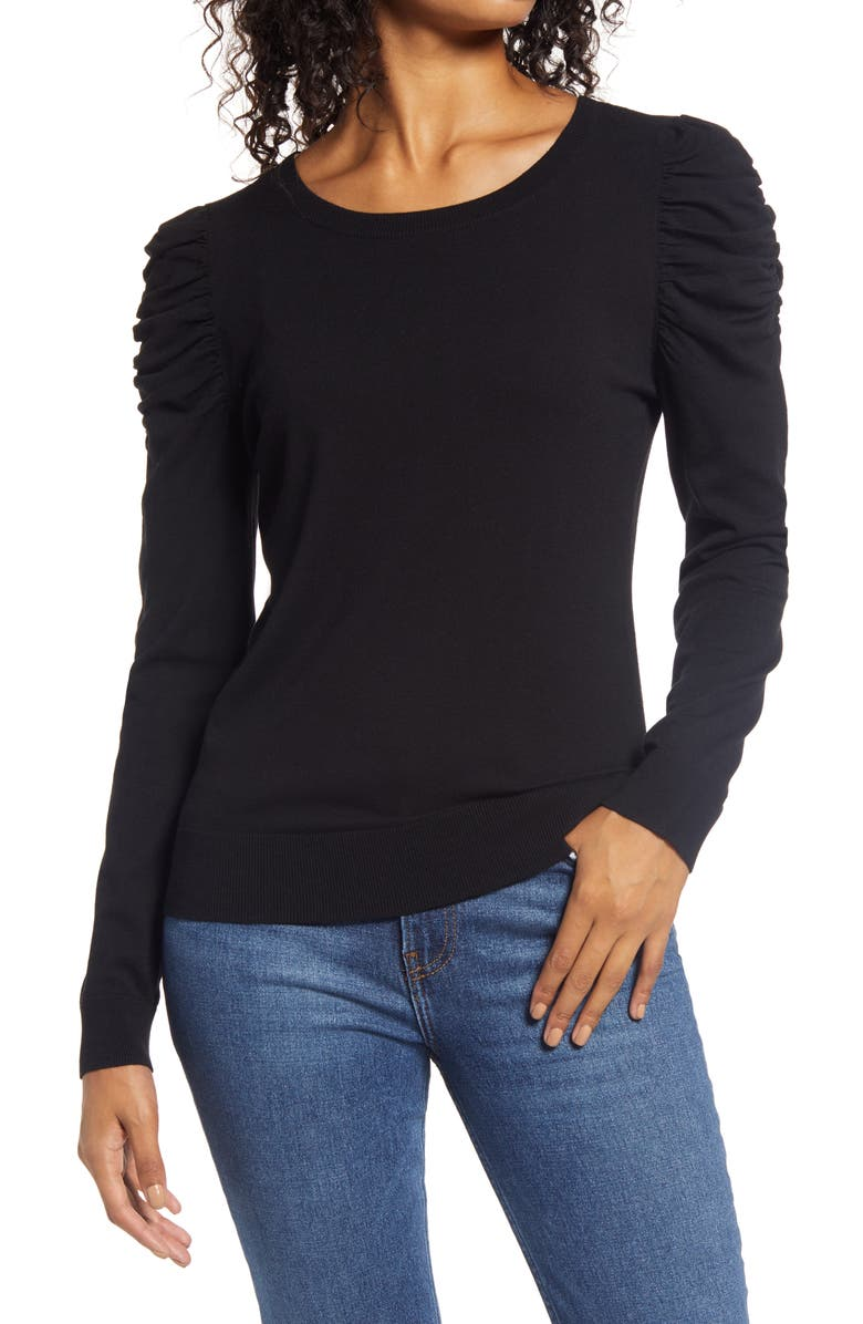 HALOGEN<SUP>®</SUP> Puff Sleeve Sweater, Main, color, 001
