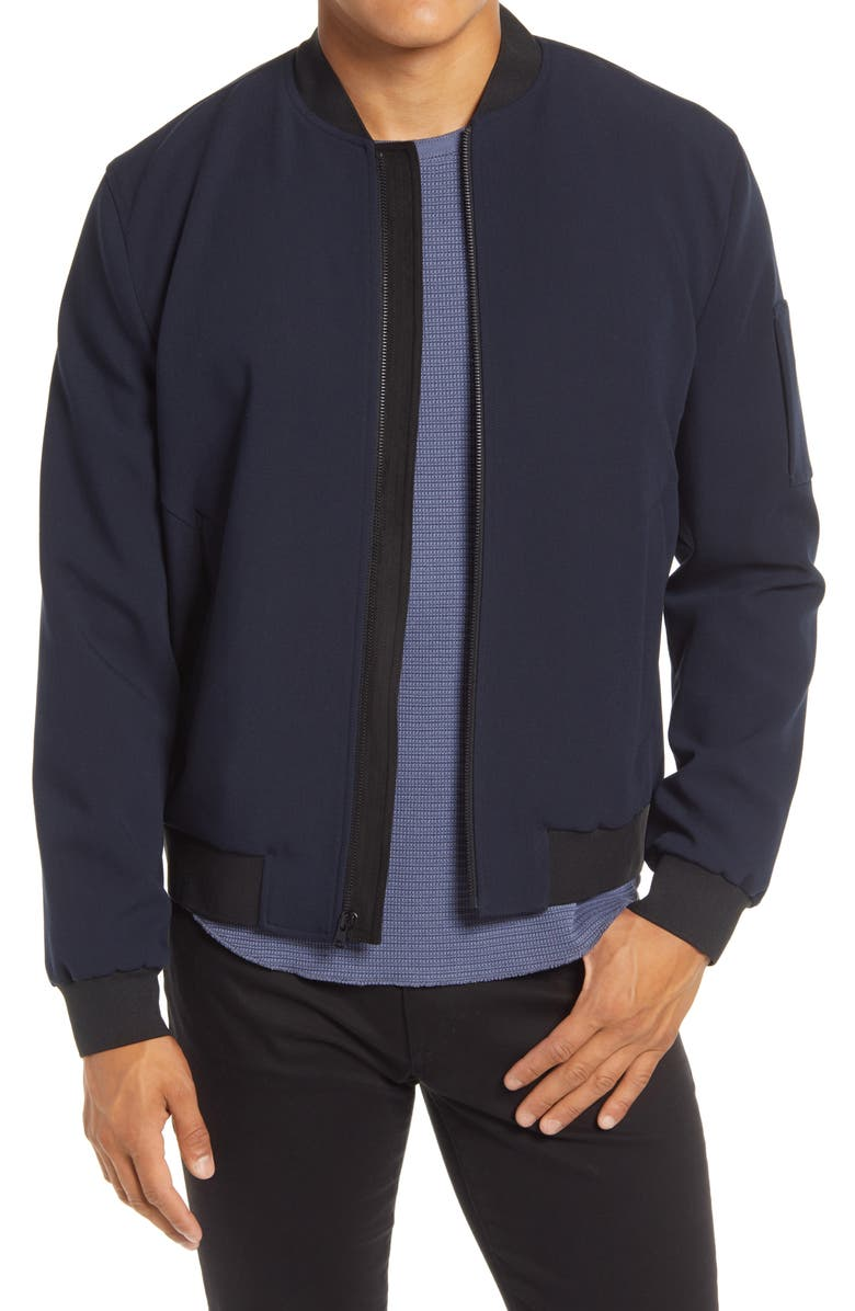 VINCE Slim Fit Bomber Jacket, Main, color, COASTAL