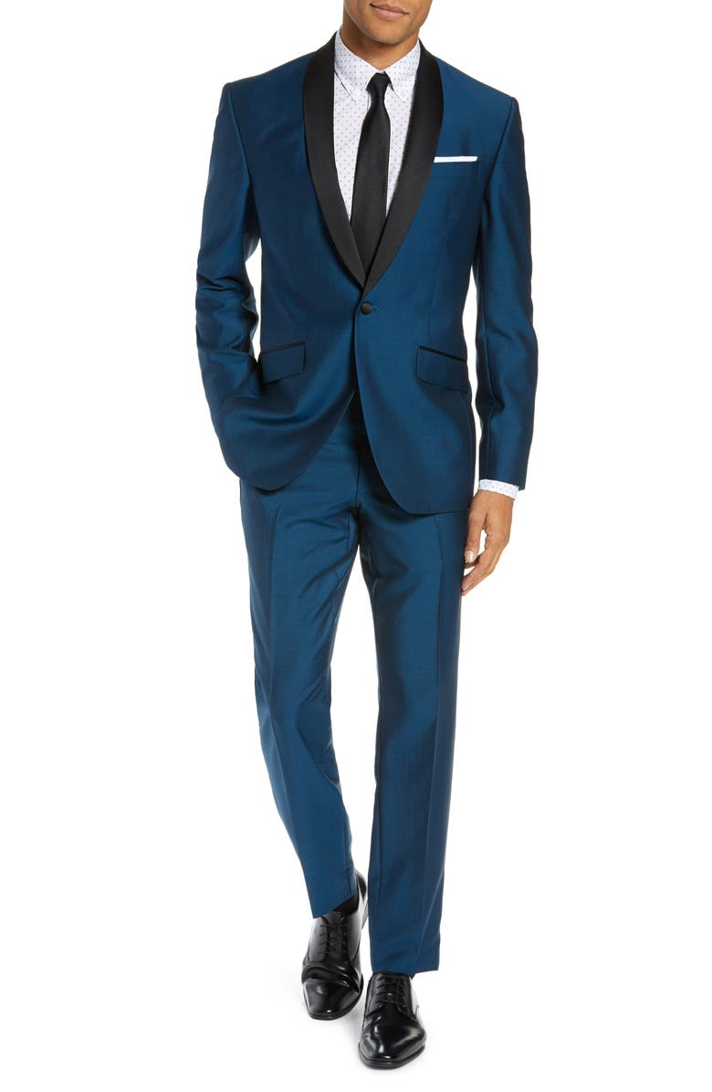 TED BAKER LONDON Josh Trim Fit Wool & Mohair Tuxedo, Main, color, 475