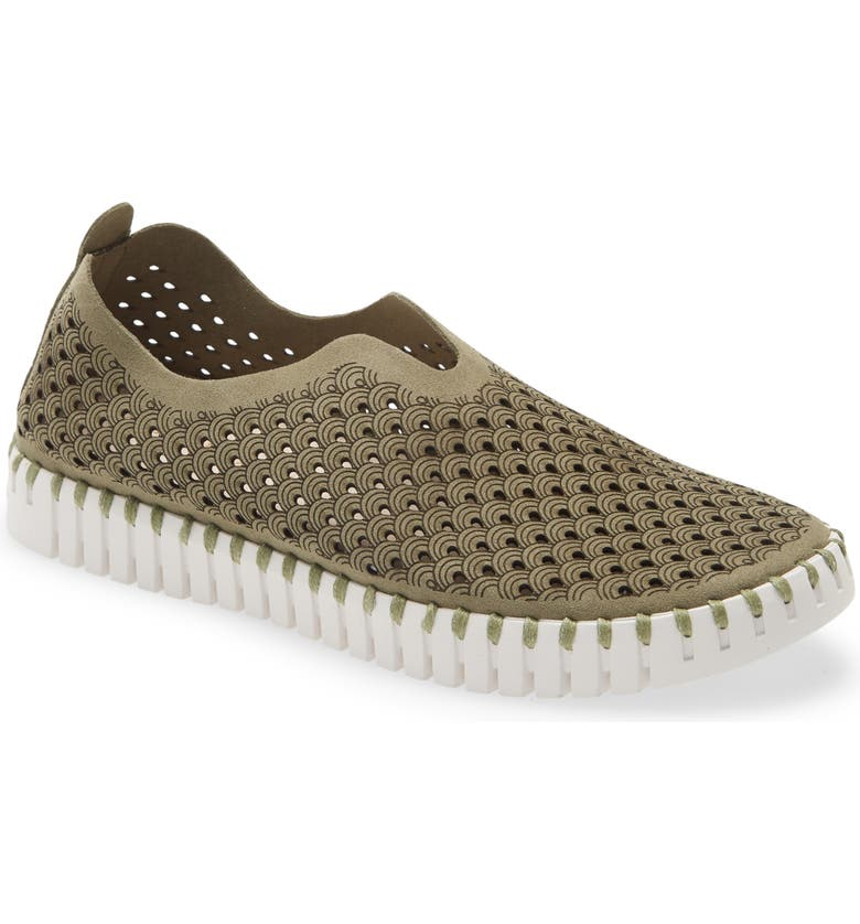 ILSE JACOBSEN Tulip 139 Perforated Slip-On Sneaker, Main, color, ARMY FABRIC