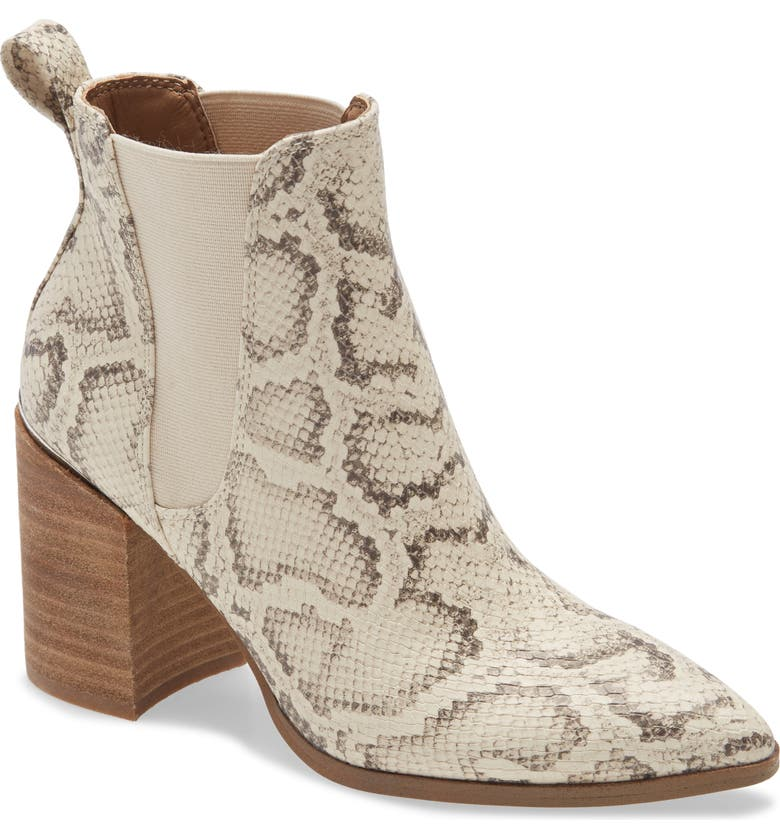 STEVE MADDEN Knoxi Pointed Toe Bootie, Main, color, LIGHT BEIGE SNAKE