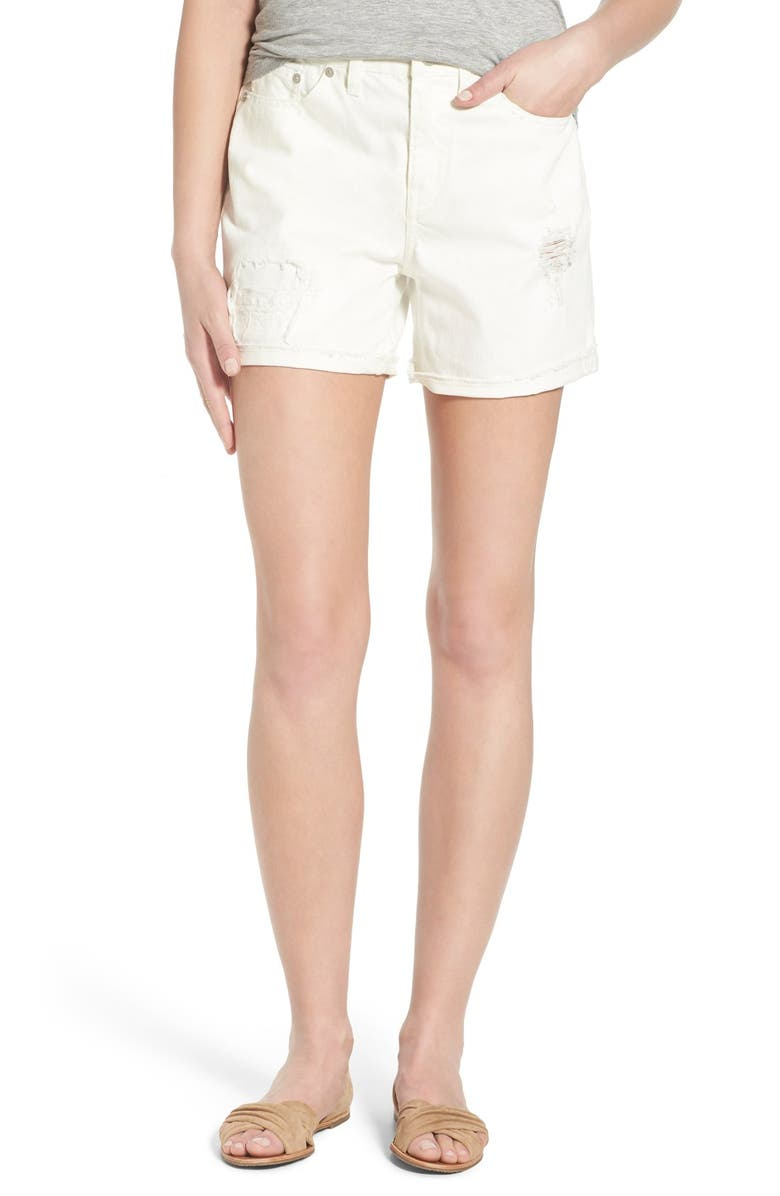 MADEWELL High Rise Shorts, Main, color, PURE WHITE