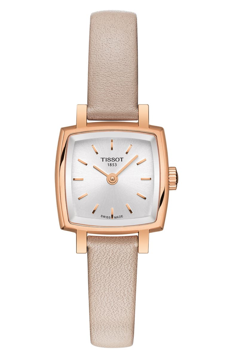 TISSOT Lovely Square Leather Strap Watch, 20mm, Main, color, PINK/ SILVER/ ROSE GOLD