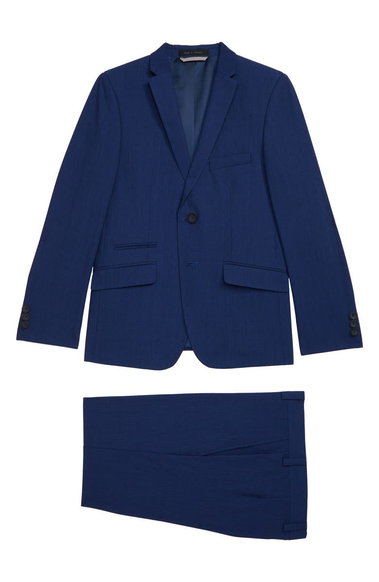 ANDREW MARC Plaid Skinny Fit Suit, Main, color, NAVY