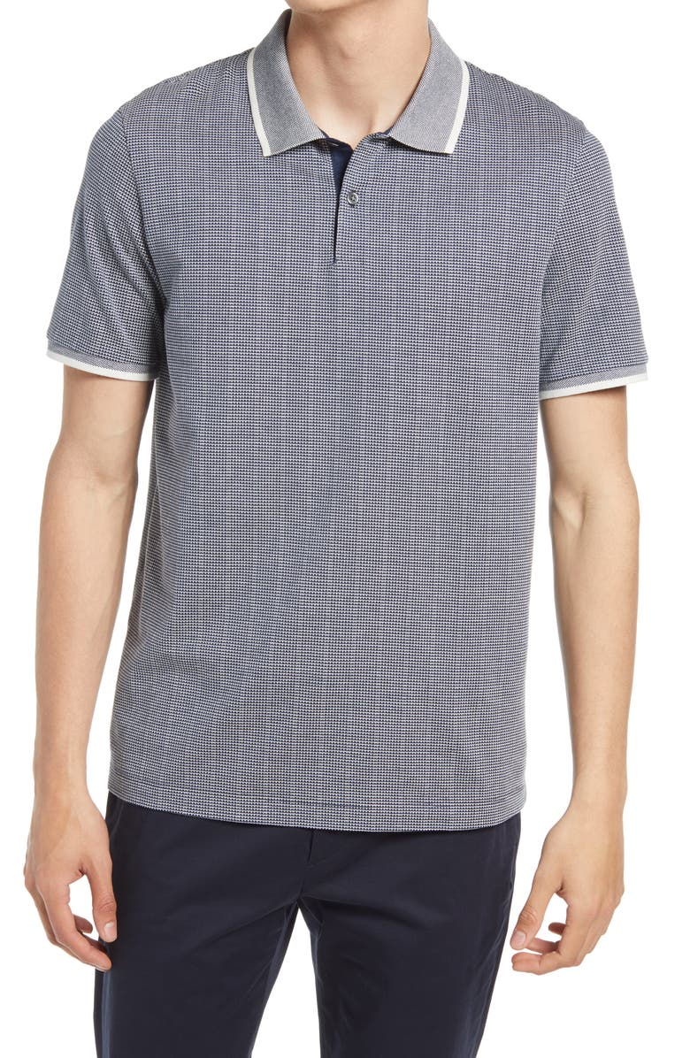 THEORY Tipped Regular Fit Two-Tone Short Sleeve Piqué Polo, Main, color, BRIGHT NAVY/ WHITE