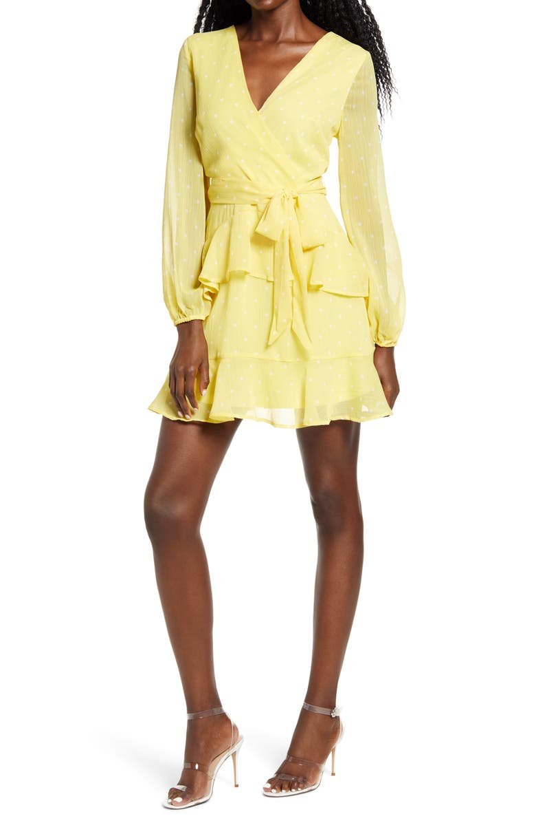 LEITH Long Sleeve Wrap Front Minidress, Main, color, YELLOW- WHITE DOT