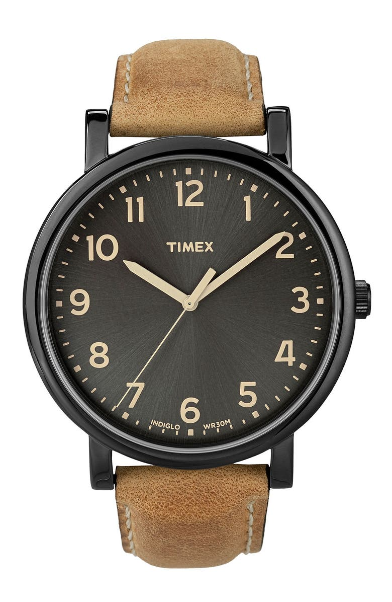 TIMEX<SUP>®</SUP> 'Easy Reader' Leather Strap Watch, 42mm, Main, color, 200