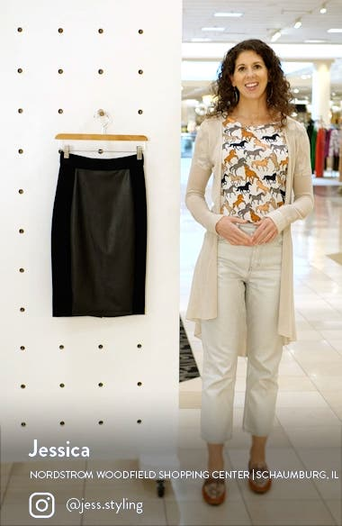 Pieced Faux Leather & Knit Skirt, sales video thumbnail