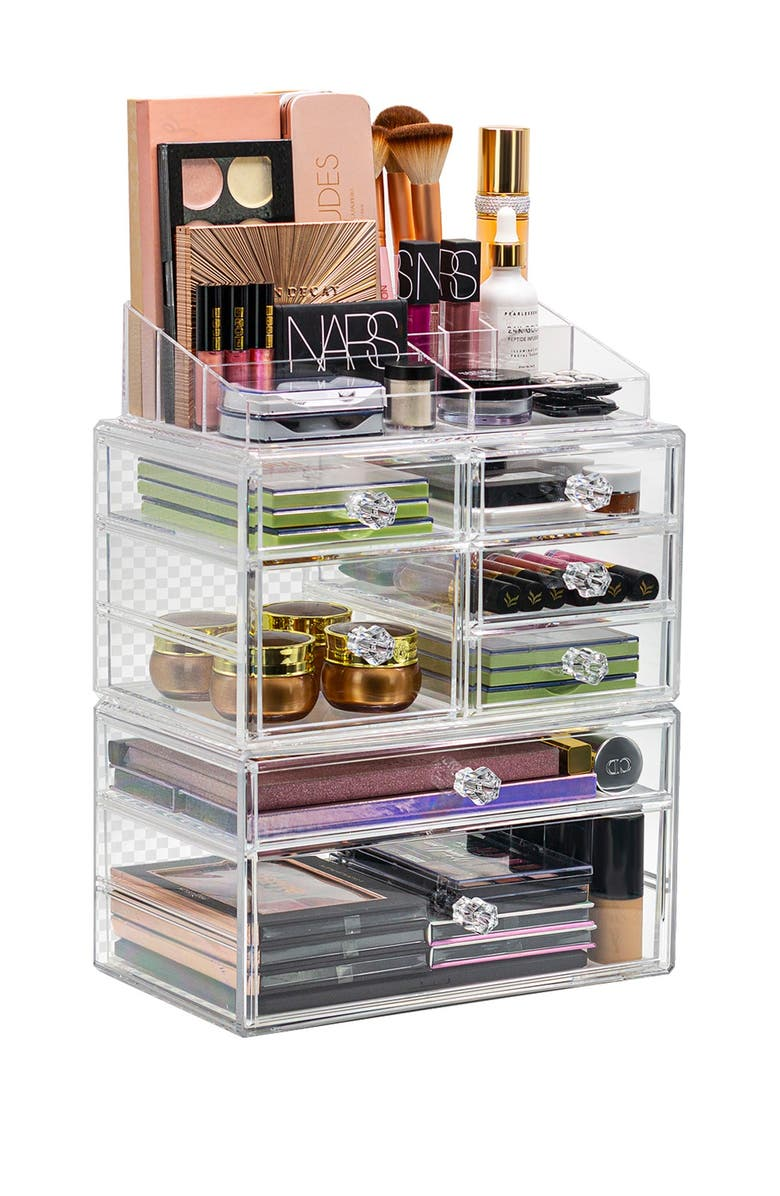 SORBUS Clear Makeup Organizer, Main, color, CLEAR