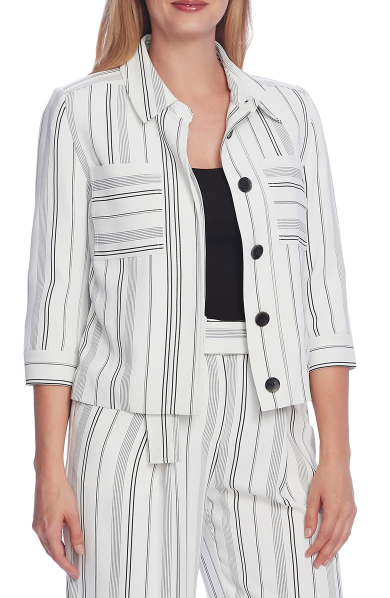 VINCE CAMUTO Yarn Dye Striped Jacket, Main, color, ULTRA WHITE