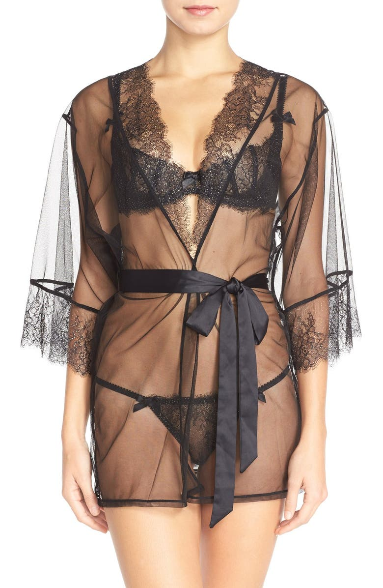 AGENT PROVOCATEUR L'Agent by Agent Provocateur 'Grace' Short Lace &Tulle Robe, Main, color, 010