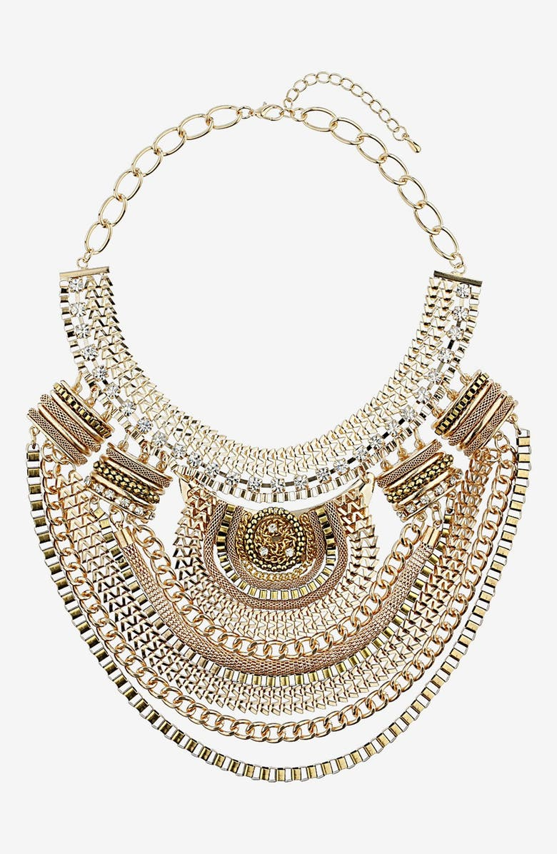 TOPSHOP Mixed Chain Collar Necklace, Main, color, Gold