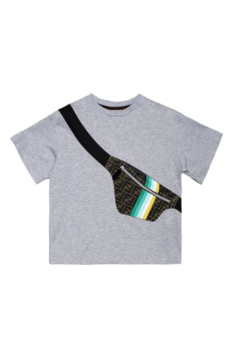 FENDI Kids' Belt Bag Graphic Tee, Main, color, GREY