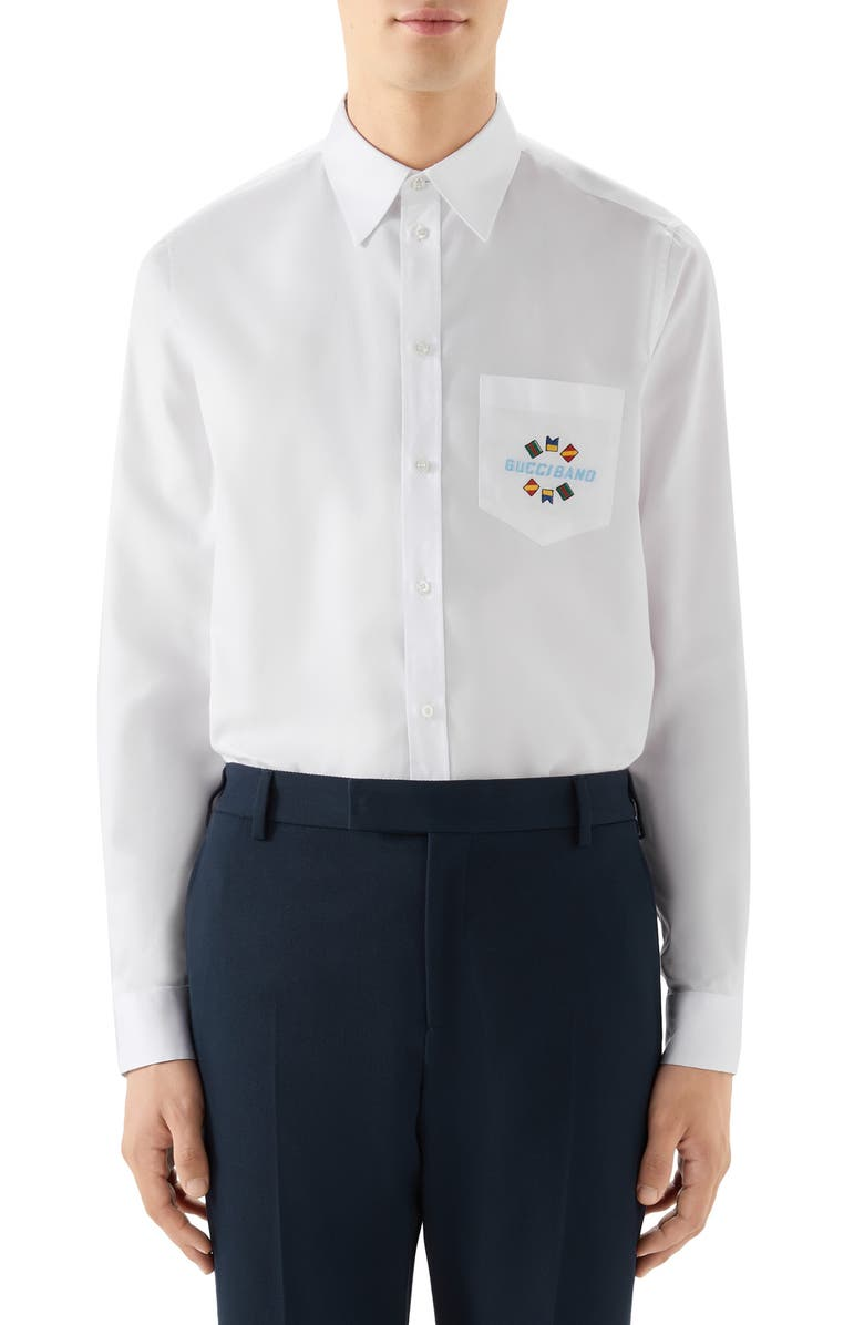 GUCCI Band Embroidered Cotton Button-Up Shirt, Main, color, 100